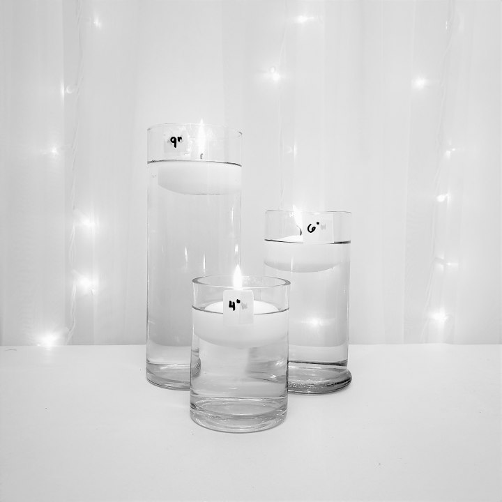 """Low Cylinder Trio with Floating Candles 9"""", 6"""", 4"""" tall"""