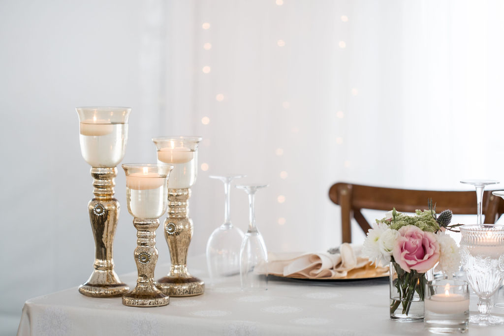 Gold Candlestick Trios with Floating Candles