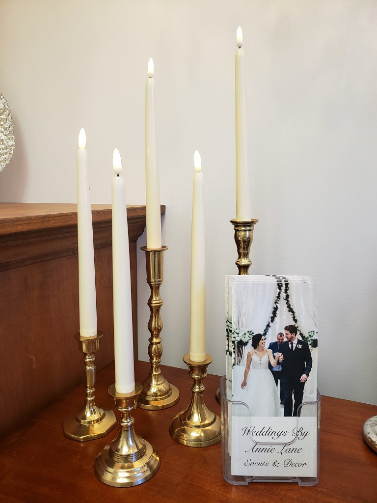 Gold Candlesticks with LED Taper Candles