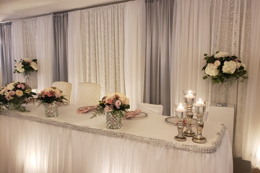 Silver Candlestick Trios - Traditional Head Table Ends