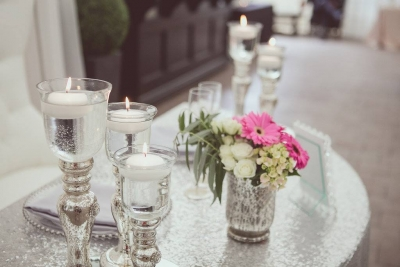Silver Candlestick Trios - Sweet Heart Table