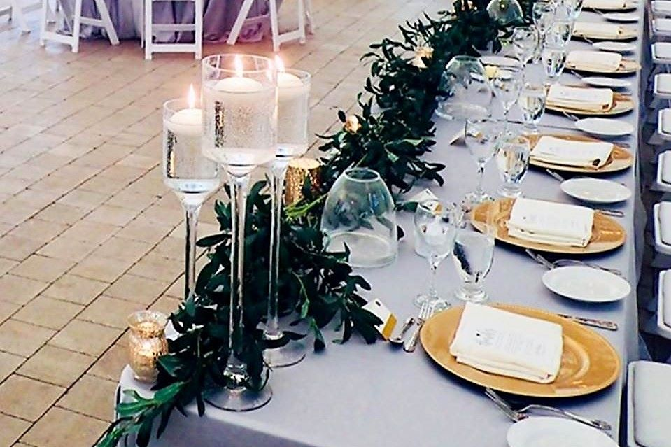 Stemmed Glass Candlestick Trios with Floating Candles