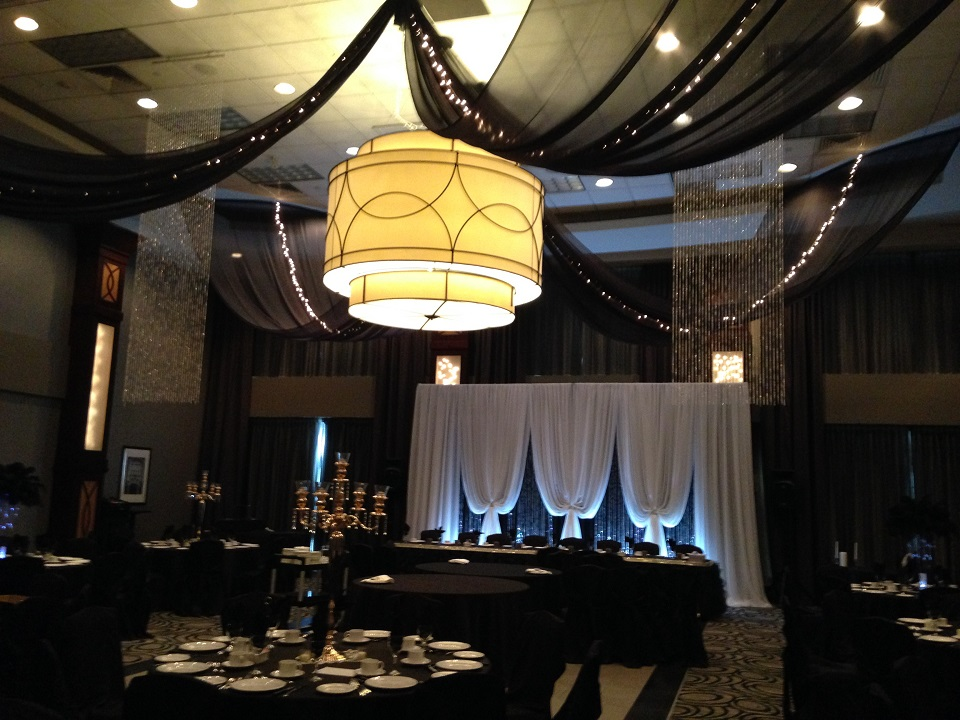 Black Sheer Swags with Crystal Curtains