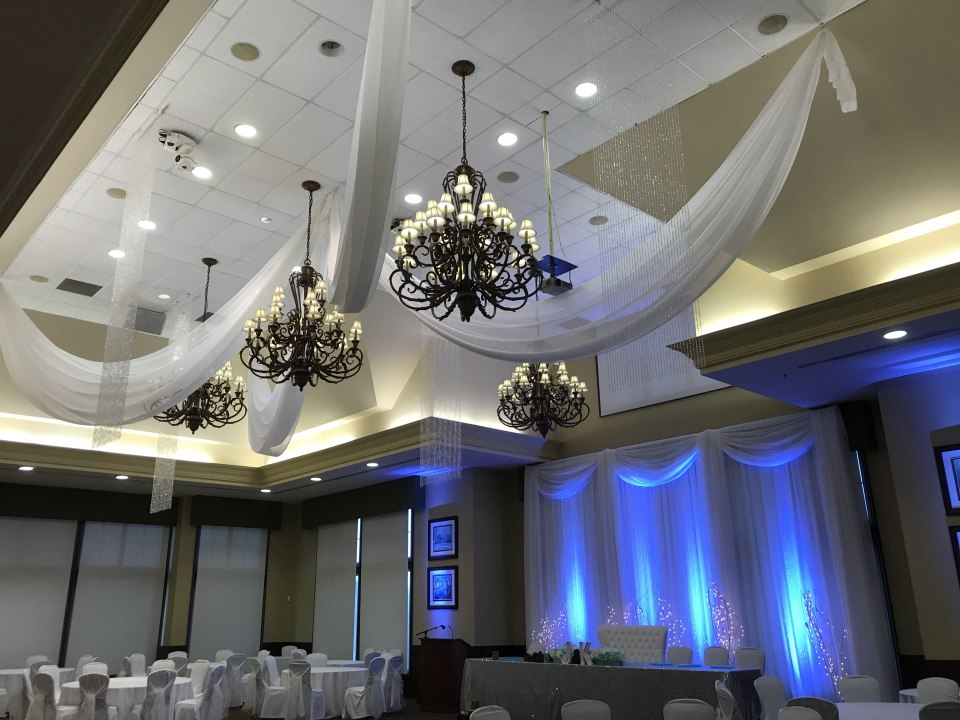 Winter Theme Ceiling with Crystal Curtains, Audley Hall Deer Creek
