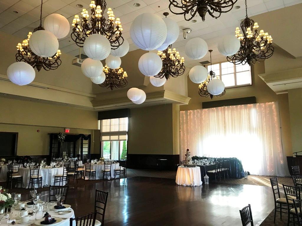 White Paper Lanterns over Dance Floor, Taunton Hall