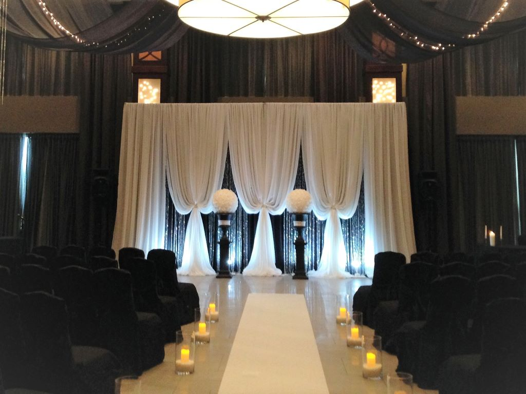 Ceremony Decor with Candle Aisle & Vertical Drape Backdrop Black & White