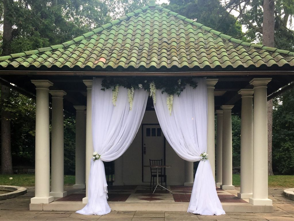Ceremony Drape at the historical Parkwood Estate in Oshawa
