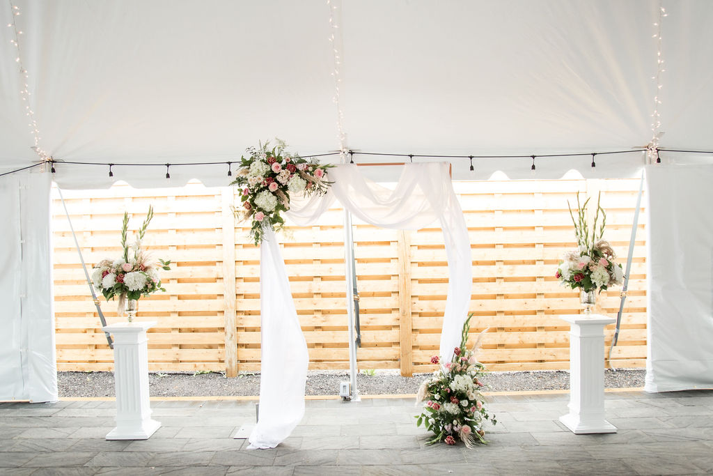 Copper Arbour with Sheer Valance & Fresh Florals