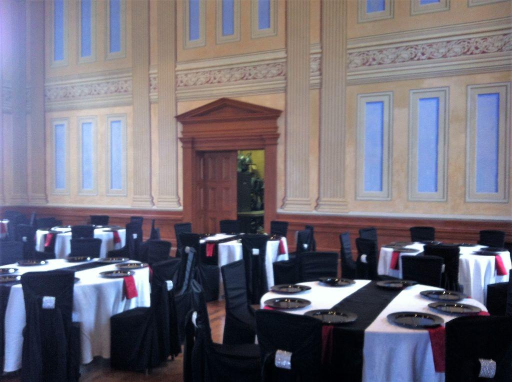 Black Bella Chair Covers with Silver Rhinestone Cuffs, Victoria Hall