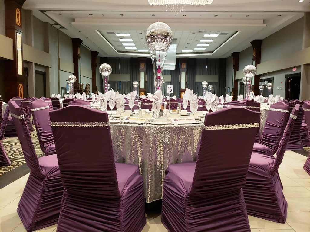 Purple Chair Covers with Silver Sequin Bands