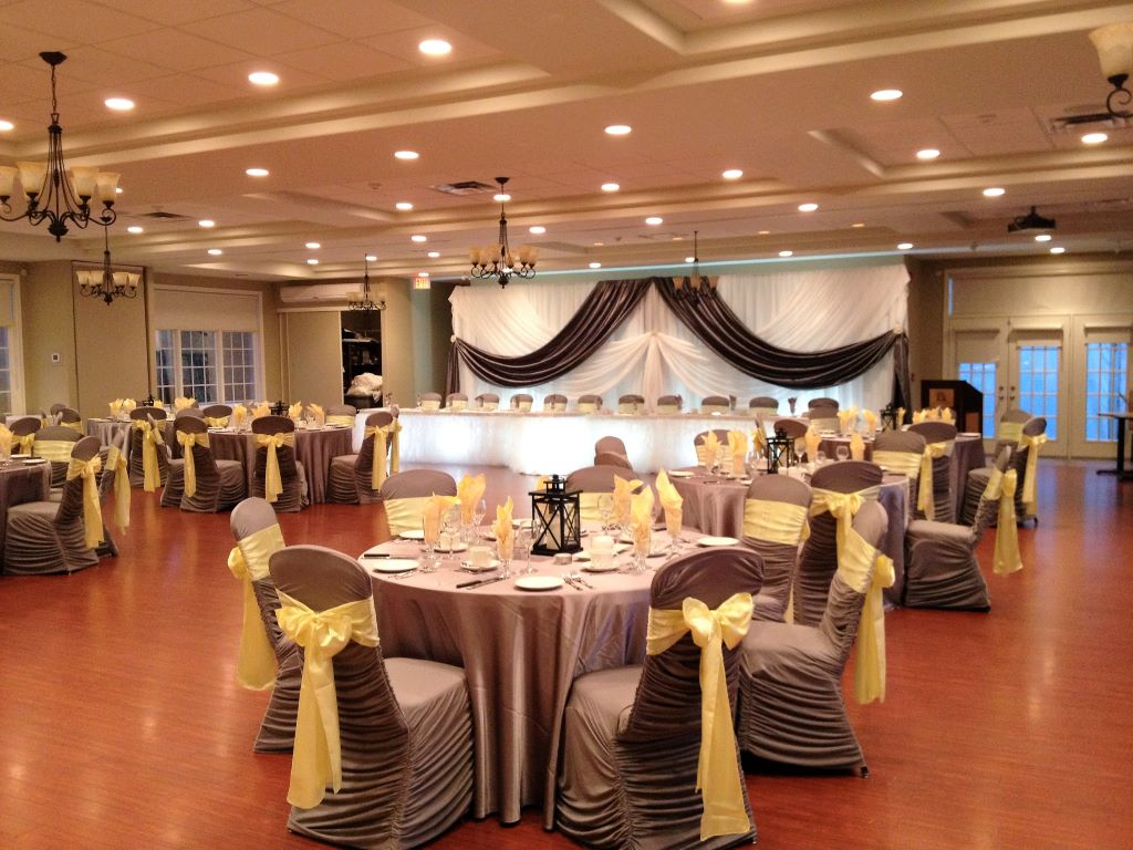 Pewter Grey Ruching Chair Covers & Butter Yellow Satin Sashes