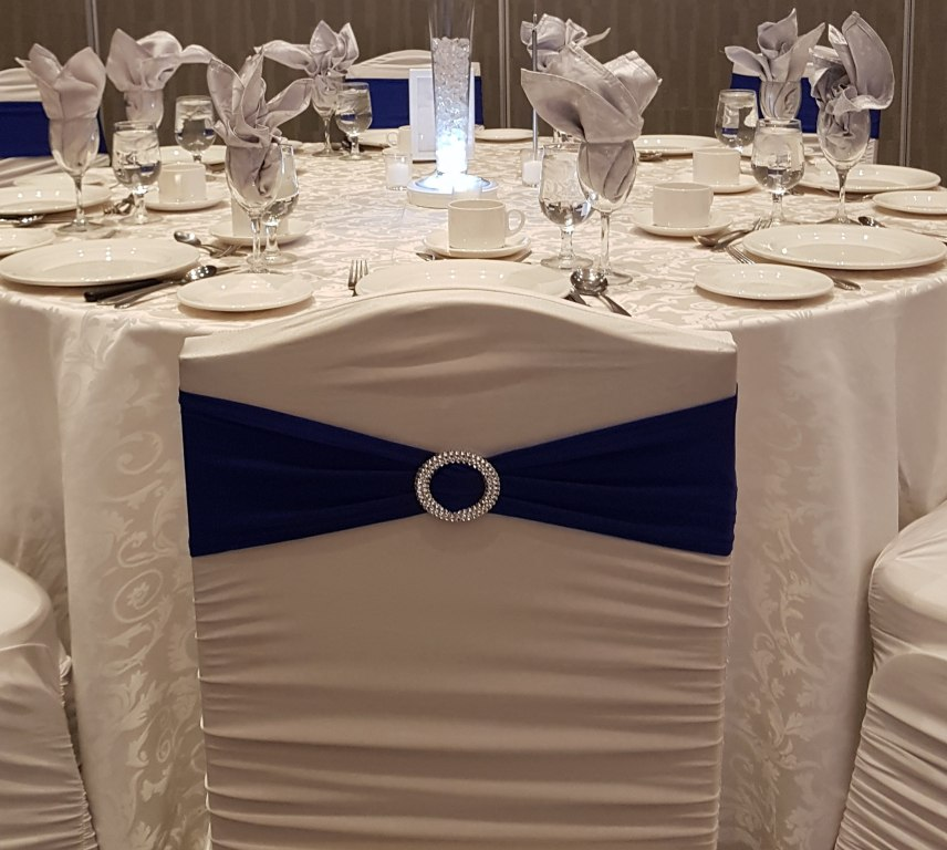 Royal Blue Chair Bands with Silver Brooch