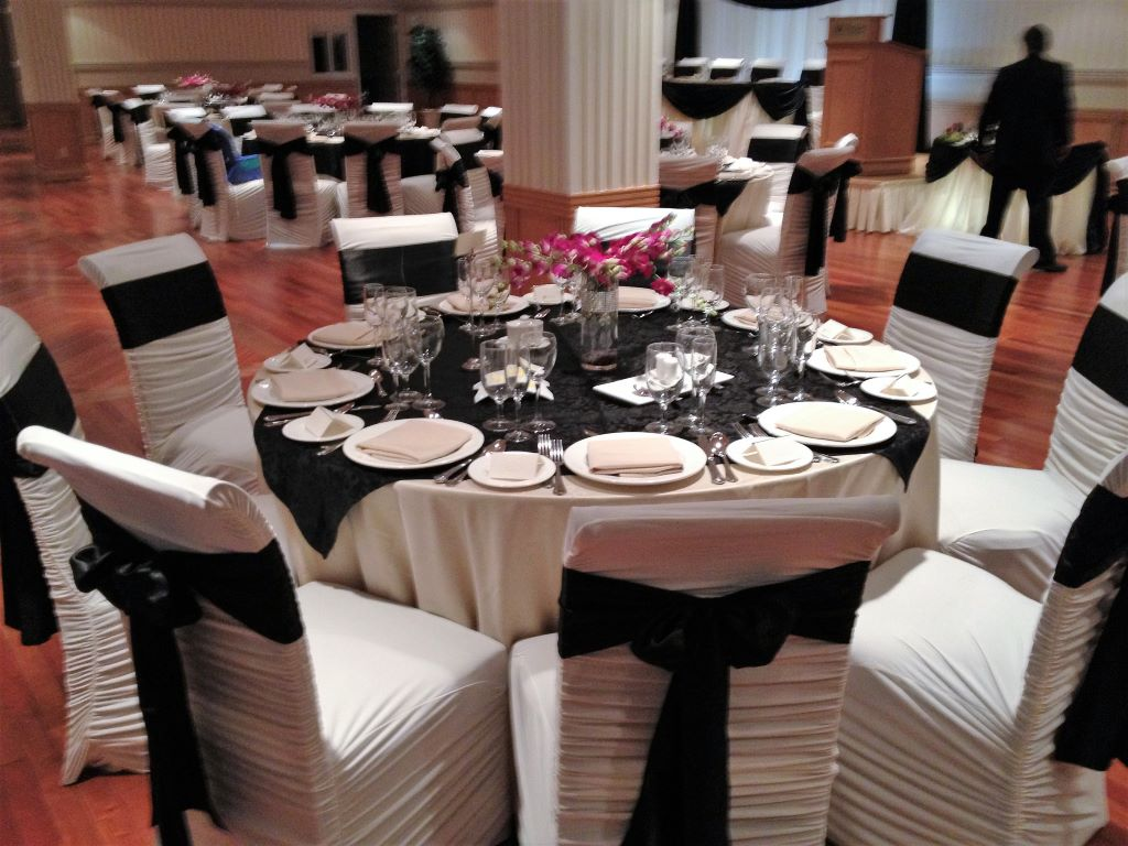 White Ruching Chair Covers & Black Sashes