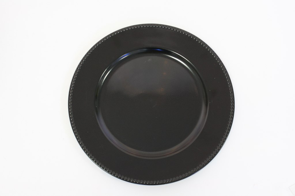Black Charger Plate with Beading