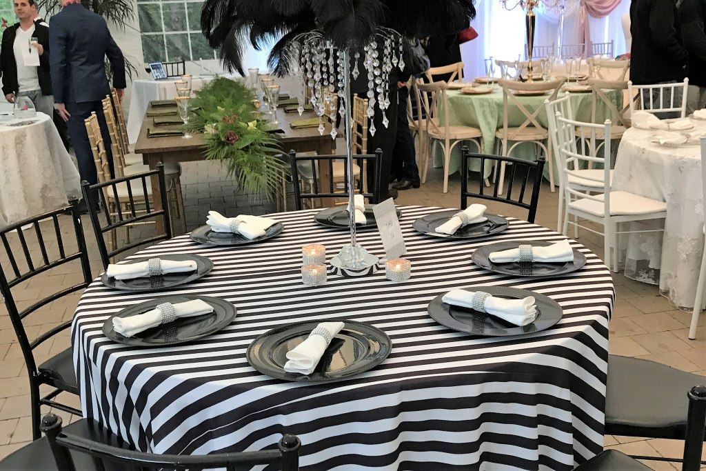 Black Charger Plates with Silver Rhinestone Napkin Rings