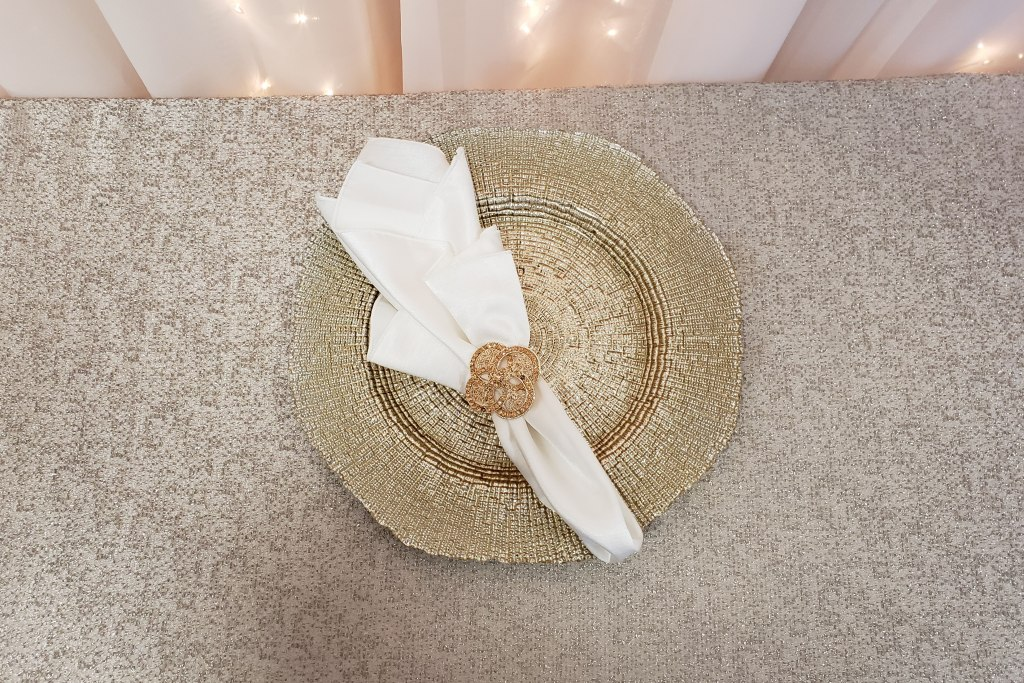 Champagne Charger Plate with Rose Gold Luxe Napkin Ring