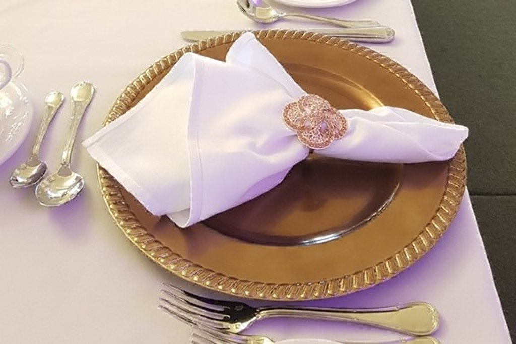 Copper Charger Plates with Rose Gold Napkin Ring