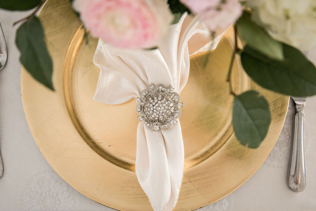 Gold Charger Plate with Silver Luxe Napkin Rings