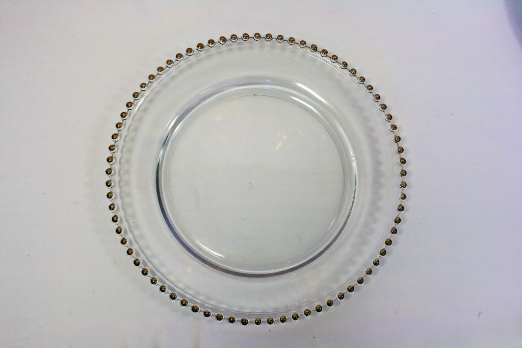 Glass Charger Plate with Gold Beading (or Silver)