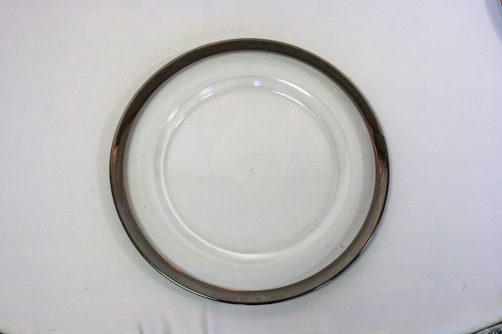 Glass Charger Plate with Silver Band (or Gold)