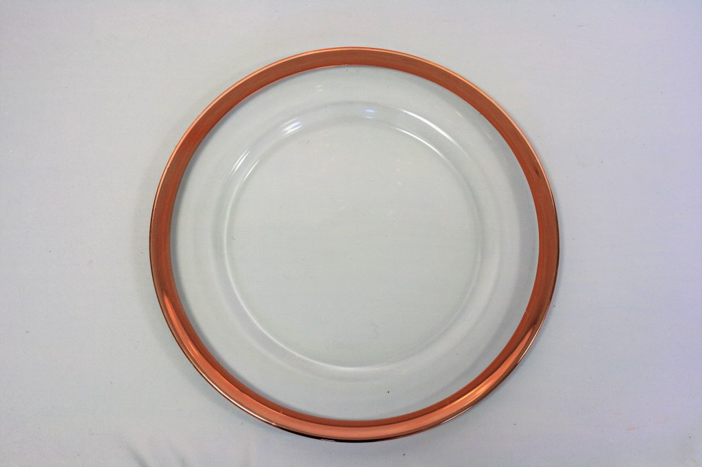 Glass Charger Plate with Blush Band