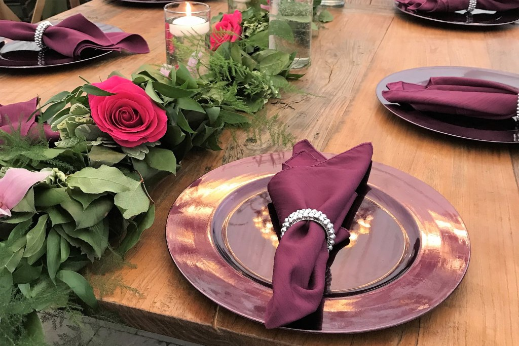 Purple Charger Plates with Silver Bead Napkin Ring