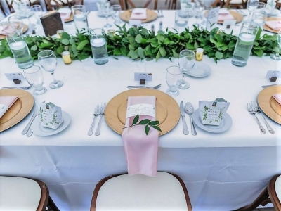 Gold Charger Plates with Blush Napkins