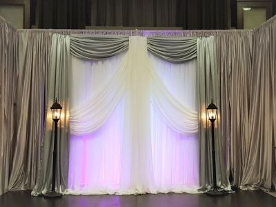 Silver & White Stage Backdrop with Street Lamps