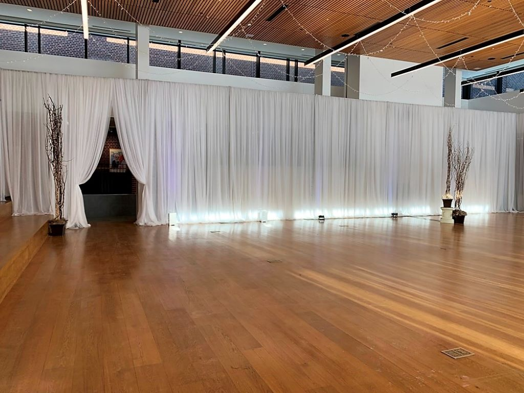 White Room Draping with Uplighting, Starry Night Ceiling & Twig Trees with Fairy Lights