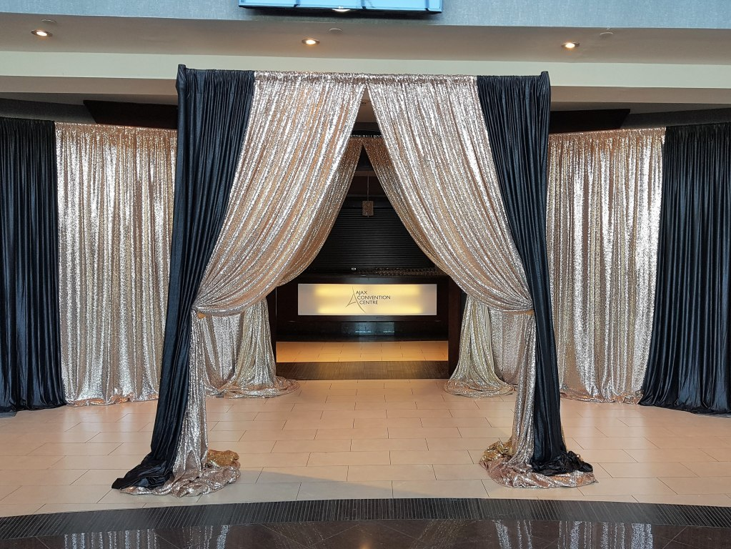 Custom Canopy-style Entranceway in Gold Sequin & Black