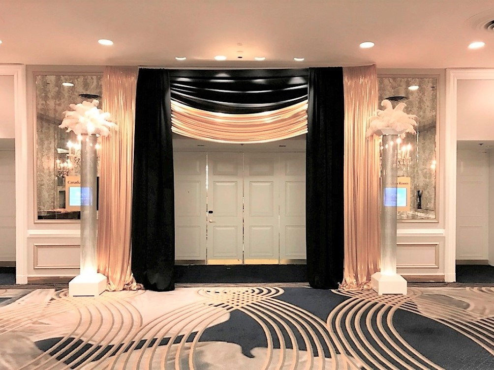 Gatsby-inspired Entranceway with Feather Topper Columns
