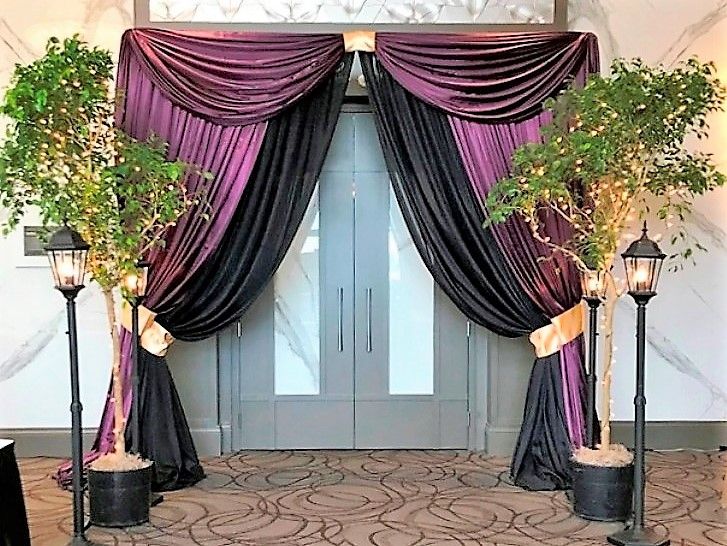 Double Entranceway in Royal Purple & Black with Ficus Trees & Street Lamps