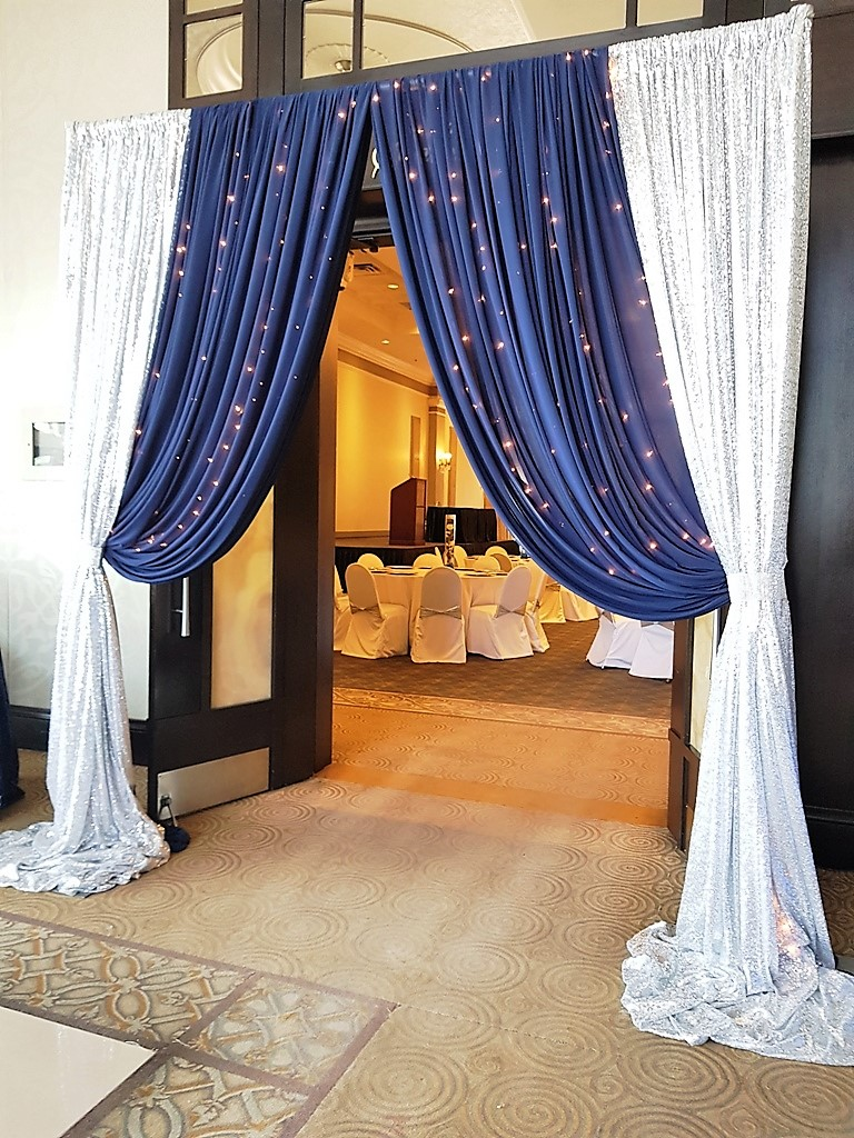 Silver Sequin & Navy Blue Chiffon with Waterfall of Lights Entranceway