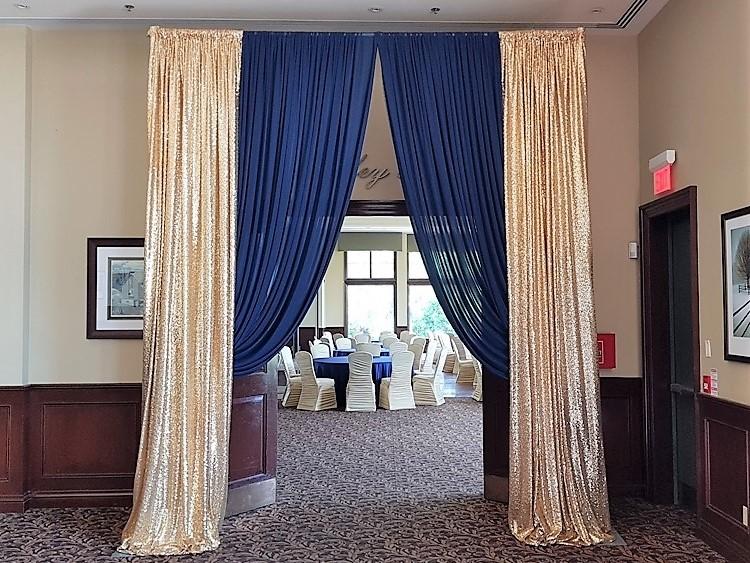Gold Sequin & Navy Blue Chiffon Entranceway