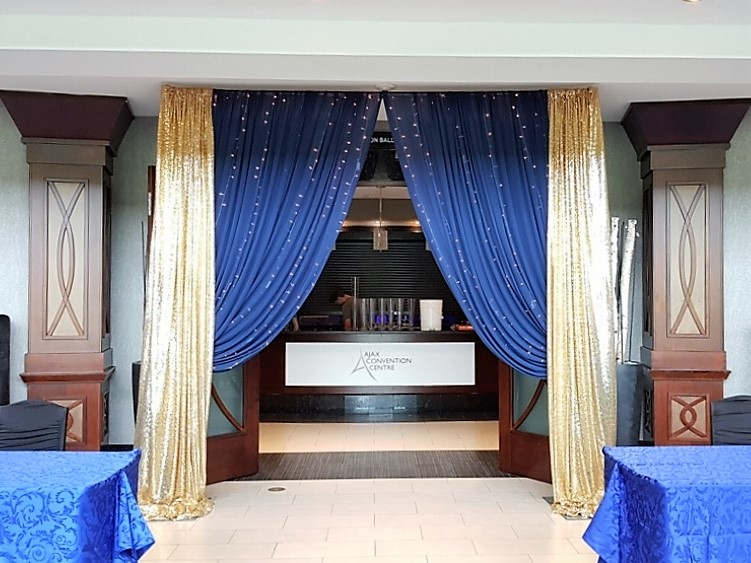 Custom Gold Sequin & Navy Blue Chiffon with Waterfall of Lights Entranceway