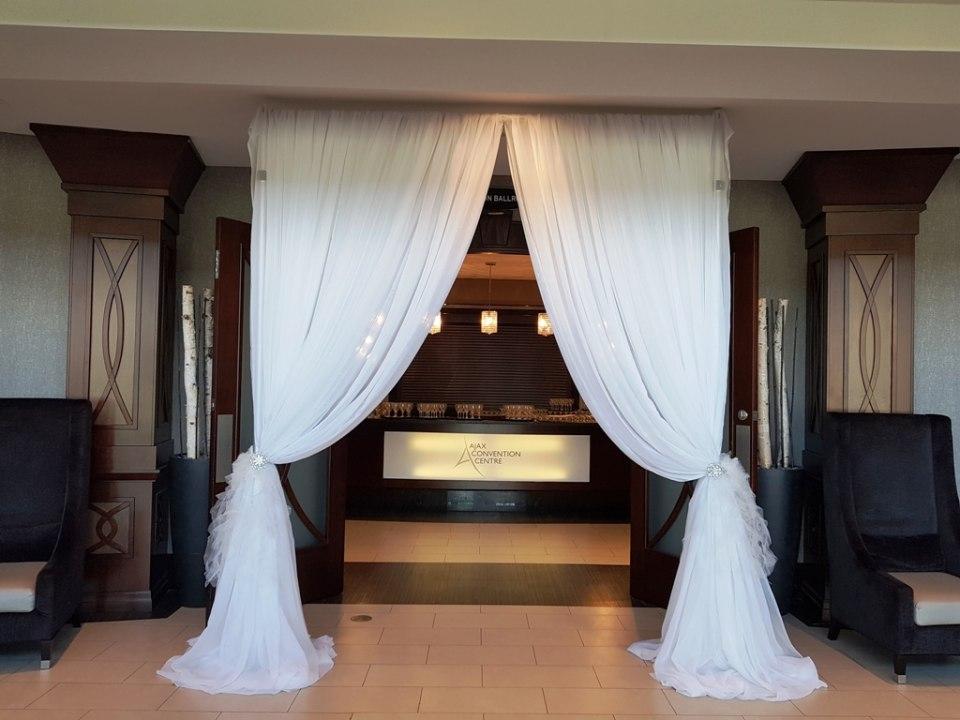 Traditional Window-Drape Wedding Entranceway