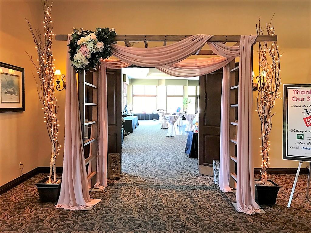 Wood Trellis with Blush Chiffon & Silk Floral Entranceway
