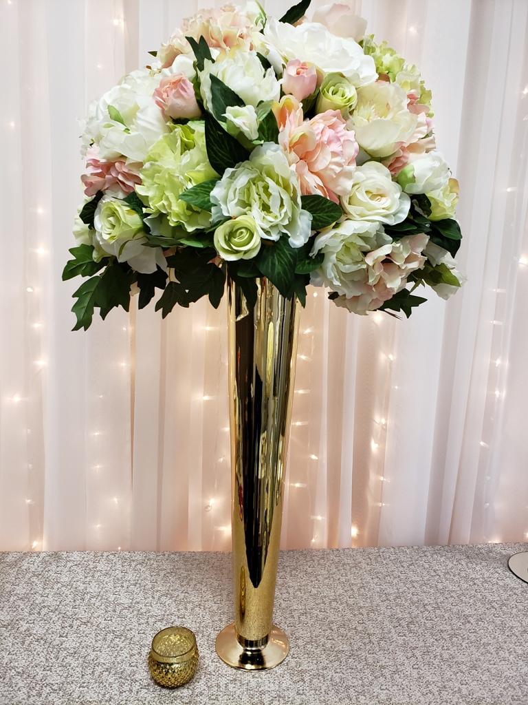 """Gold Pilsner Vase Rental 23"""""""