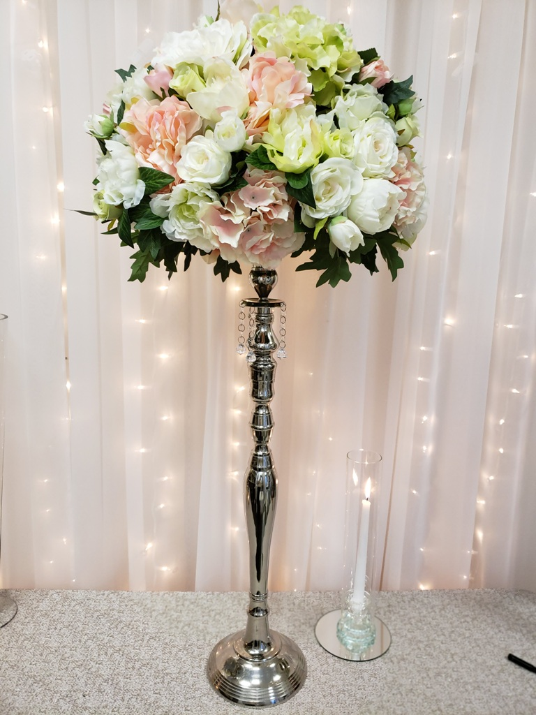 """Silver Candlestick Stand Rental 30"""""""