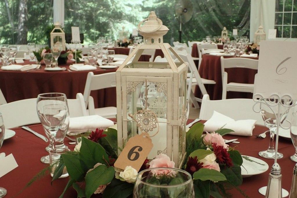 Vintage Lanterns with Fresh Floral Wreath
