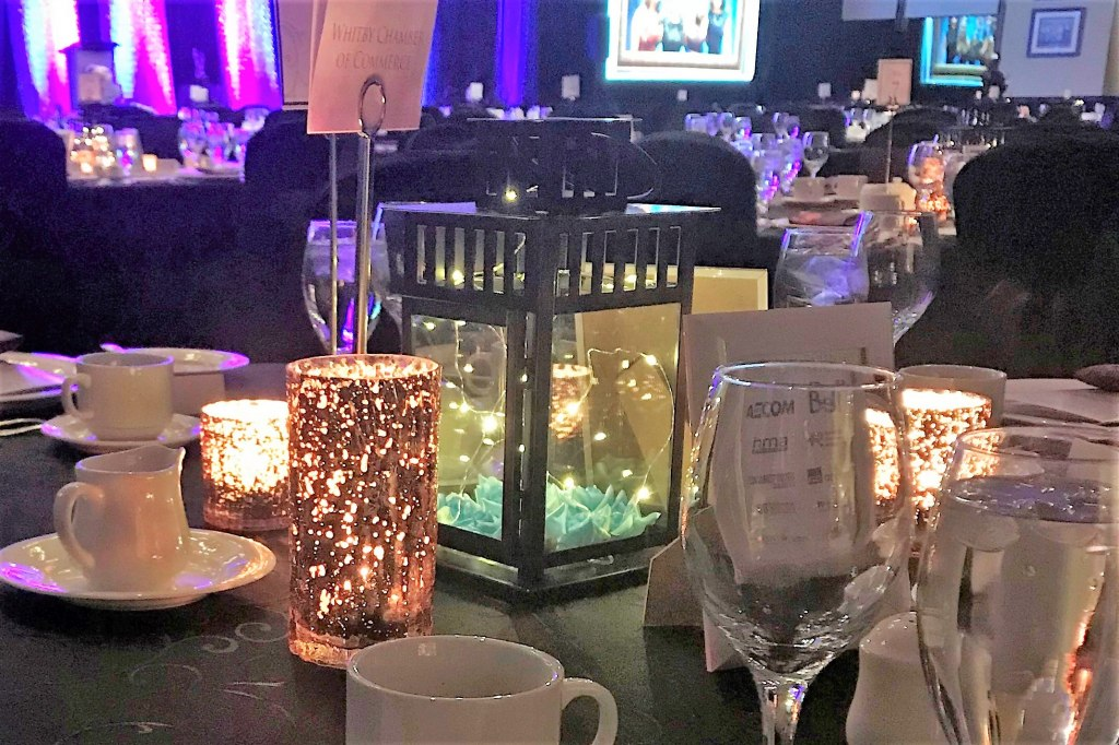 Black Lanterns with Fairy Lights and Mercury Votives