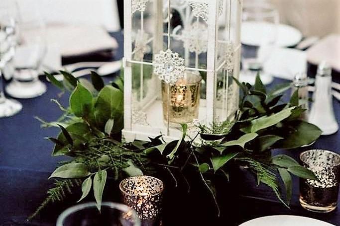 Vintage Lanterns with Gold Mercury Votives