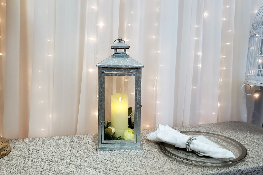 Silver Lanterns with Flicker Flame Candles