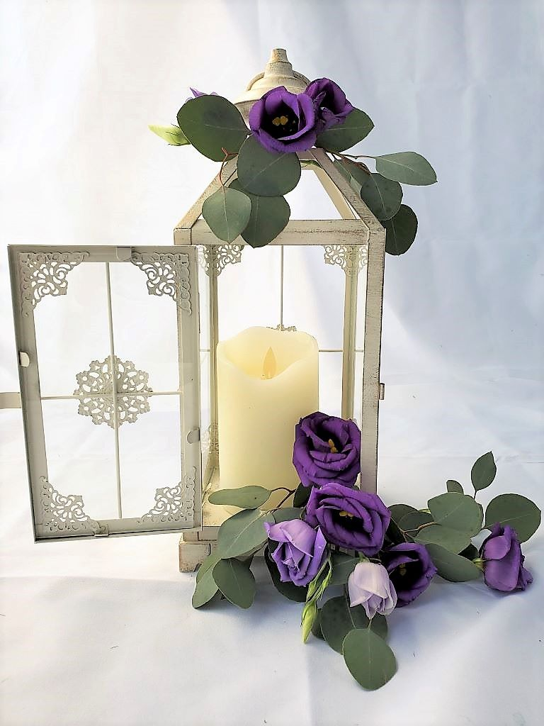 Vintage Lantern with Lilac & Purple Floral Accents