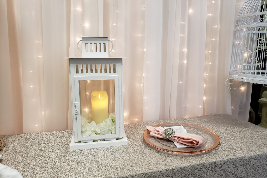 "18"" White Lanterns with Flicker Flame Candles"