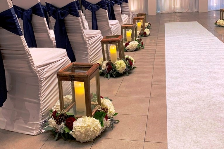 Wood Lanterns for Ceremony & then Guest Tables