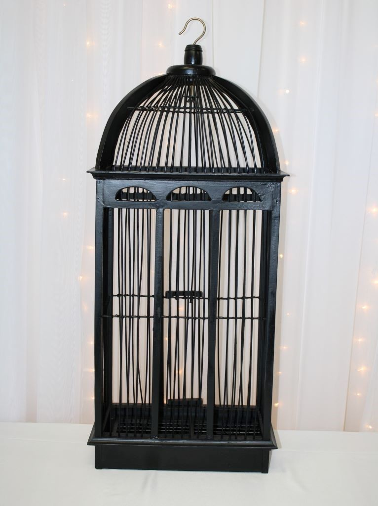 Black Tall Bird Cage Money Box