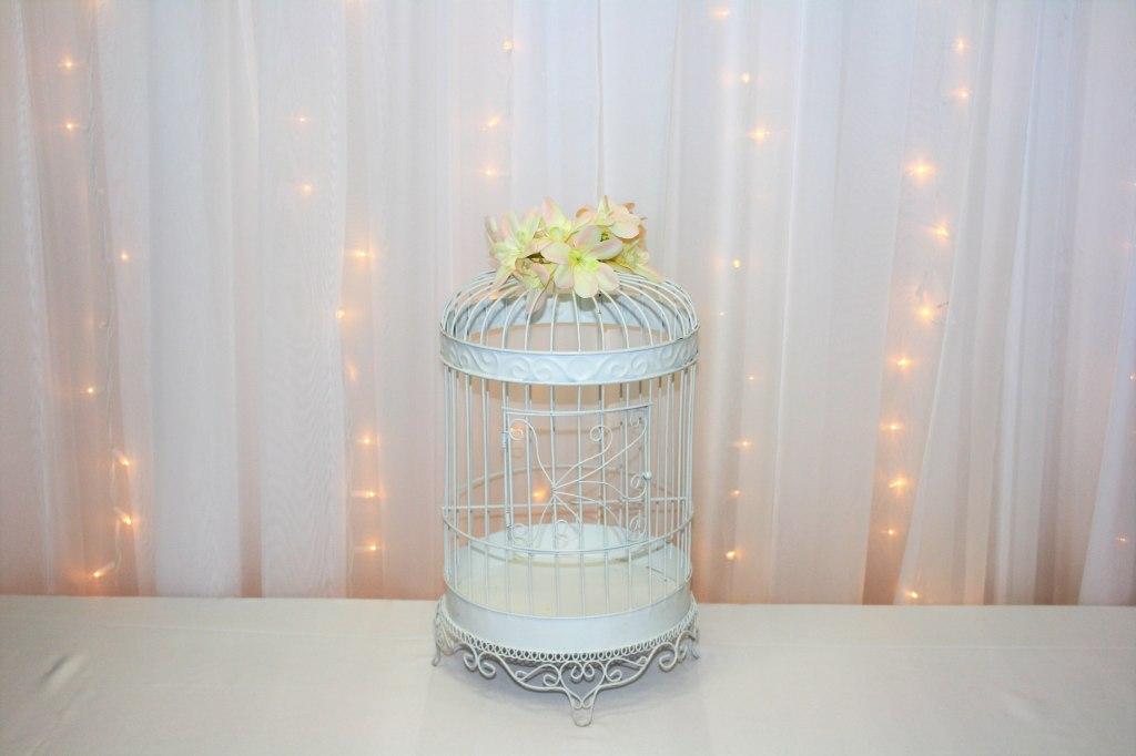 White Bird Cage Card Box