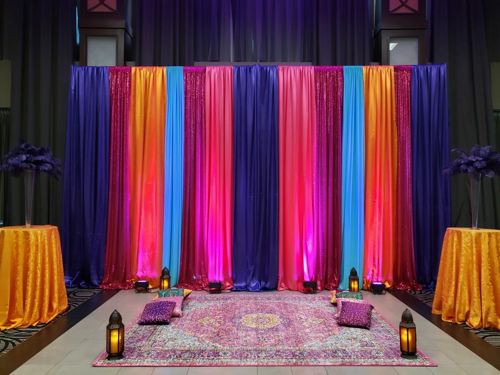 Multi Coloured Backdrop & Indian Carpet, Morrocan Lanterns