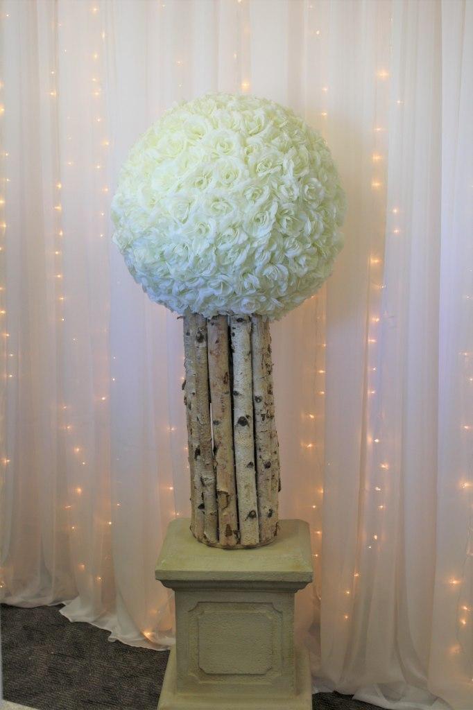 Birch Urn, Stone Pedestal Ivory Rose Ball